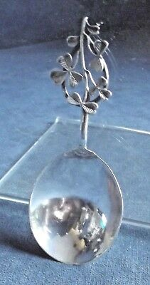 GOOD ~ SOLID SILVER ~ SHAMROCK Finial ~ Caddy SPOON ~ Birmingham 1894