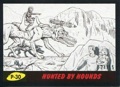 Mars Attacks The Revenge Black [55] Pencil Art Base Card P-30 Hunted by Hounds