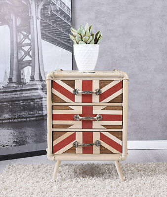 Kommode Loft Möbel Sideboard Nachtkommode Union Jack Schrank Metallkommode Retro