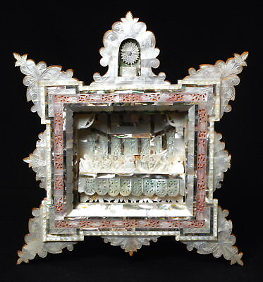 Really Good Antique Vintage Mother Of Pearl Carved Religious Diorama Figures