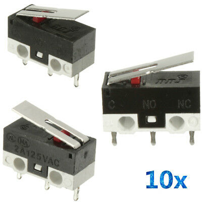 10X 2A 125V Mini Micro Limit Switch Lever Roller Arm Actuator SPDT Snap Action