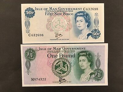 ISLE OF MAN  (2 Notes)  50 Pence and 1 Pound  1979  -- CRISP!!