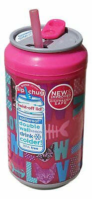 12 Ounce Cool Gear Spill Proof Insulated Can with Slide Top Twist-Off Lid (Pink