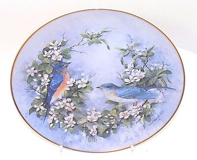 """Franklin Mint Fine Porcelain Collectible Plate """"Duet in Bloom"""" by T Politowicz"""