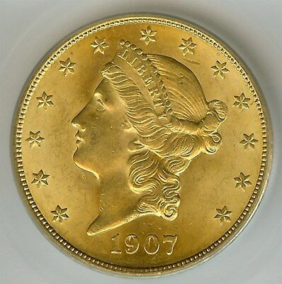 1907 Liberty Head $20 Gold Double Eagle  Icg Ms65  Rare In Gem 65!!