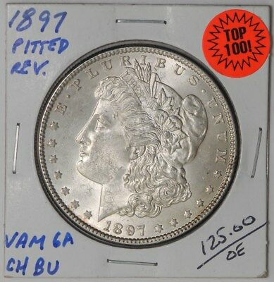 1897 Morgan Dollar $ Vam 6A Pitted Reverse Top 100 Choice #dc-1086 BU