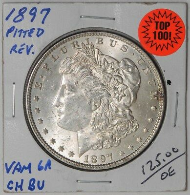 1897 Morgan Dollar Vam 6a Pitted Reverse Top 100 Choice #dc-1090 BU
