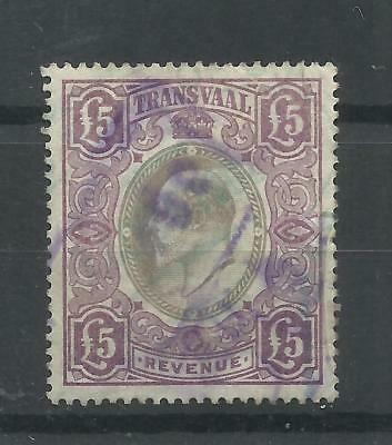 SOUTH AFRICA - TRANSVAAL 1902 Revenue £5 violet & grey, fine used, Barefoot 99