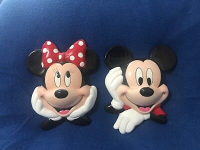Enesco Mickey AND Minnie Mouse    3-D Faces Wall Plaque Ceramic Porcelain