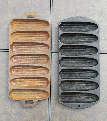 Lot of 2 Vintage Cast Iron 7 Slotted Corn Cob Muffin Pans