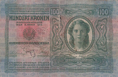 100 Korona/kronen Vg-Fine 1919 With A Finance Stamp From Ljubljana/slovenia!