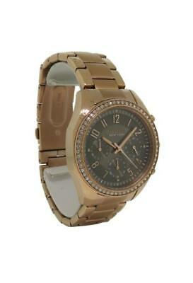 Caravelle New York 44L195 Women's Round Taupe Analog Clear Stone Watch