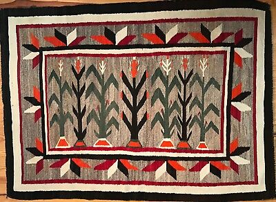 Spectacular NAVAJO CORN YEI PICTORIAL RUG WITH VALERO STAR BORDER! Excellent