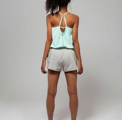 IVIVVA Lululemon ~ BREEZE Easy ROMPER Shorts ~  Heathered  Grey Green ~ 10 NWOT