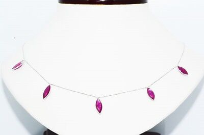 $3,000 6.95Ct Natural Marquise Cut African Ruby By The Yard Necklace 14K