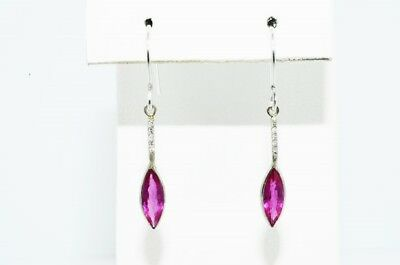 $1,200 1.52Ct Natural Red Ruby & Diamond Cluster Dangle Earrings 14K White Gold