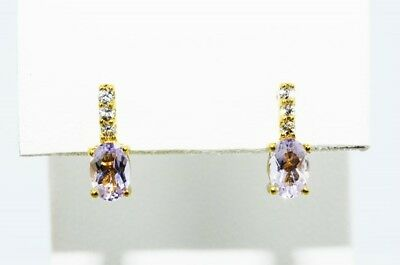 1.25Ct Natural Amethyst & White Topaz 4 Stone Dangle Earrings .925 Silver
