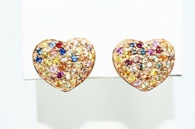 $500 1.50Ct Natural Round Cut Multi-Color Sapphire Cluster Heart Earrings