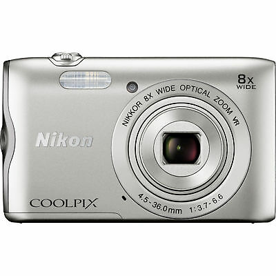 Nikon Coolpix A300 20.1MP 8x Optical Zoom NIKKOR WiFi Silver Digital Camera