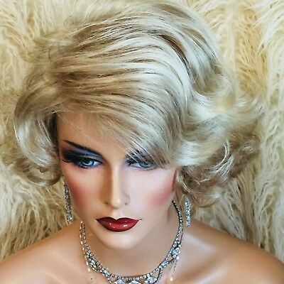 Too Cute, Short Flip, Mixed Blonde Shades, Wear Styled On Either Side,  Wig!!