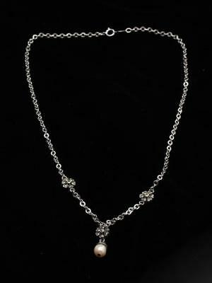 Judith Jack Sterling Silver, Marcasite & Pearl Pendant Necklace