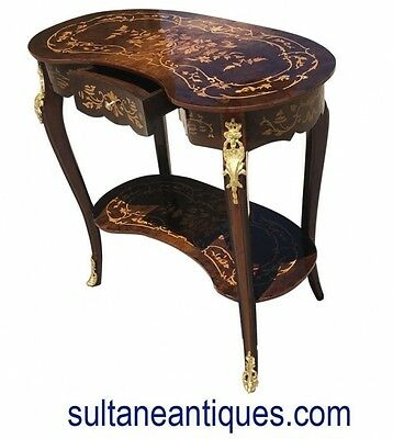 Marquetry kidney shaped LOUIS XV style lady's desk
