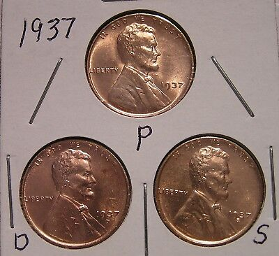 1937 P D S 3 RED BU UNCIRCULATED  Lincoln Wheat Cent BUT YOU GRADE THEM