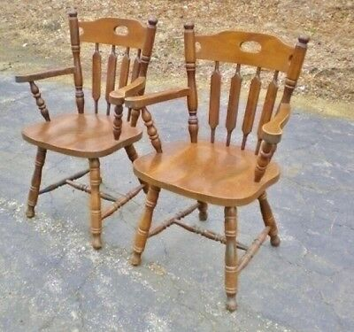 Classic English antique PAIR solid oak Large chairs