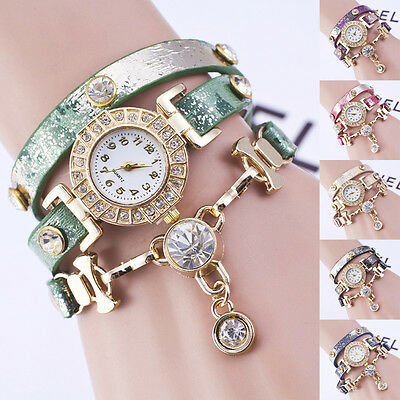 Fashion Womens Crystal Wrist Watch Chic Gift Faux Leather Strap Bracelet NEW