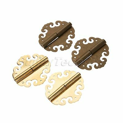 4cm Retro Brass Chinese Furniture Antique Wooden Box Hinge Clouds Hardware 2Pcs