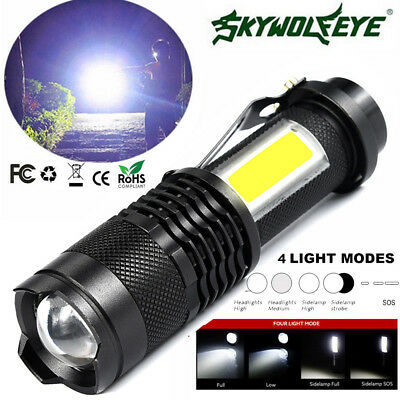 10000 LM Zoom Q5 + COB LED Flashlight 14500 4 modes Mini Pocket Clip Torch Light
