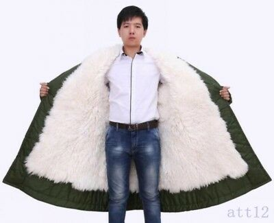 Men Lamb Fur Lining Outwear Thick Parka MIlitary Thick Jacket Coat Army Green
