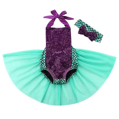 US Mermaid Newborn Baby Girl Bodysuit Tulle Dress Romper Jumpsuit Sunsuit Outfit