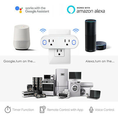 Dual Socket Smart WiFi Plug Outlet Swtich For Echo Alexa Google Home APP Remote
