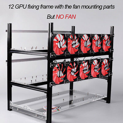 12 GPU Crypto Coin Stackable Open Air Mining Rig Frame Miner Case For ETC BTH UK