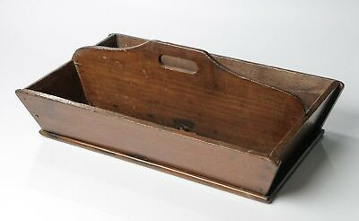 Antique Victorian Provincial Rustic Mahogany Two Division Cutlery Tray / Carrier