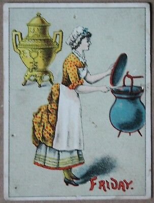 Nice Victorian Dilworth's Coffee Color Advertisement Card Friday Woman w/ Kettle