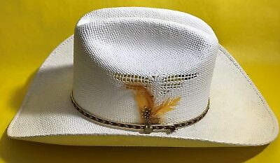 Mens Western Express Cream Country Cowboy Hat Side Details Band Nice Size 7