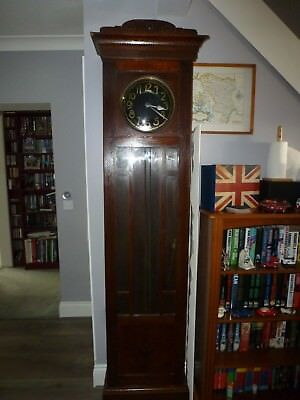 Antique Art Deco Oak Long Case Clock Black Enamel & Gold Face For Restoration