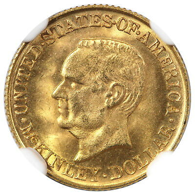 1916 Gold $1, President McKinley Commemorative, NGC MS64