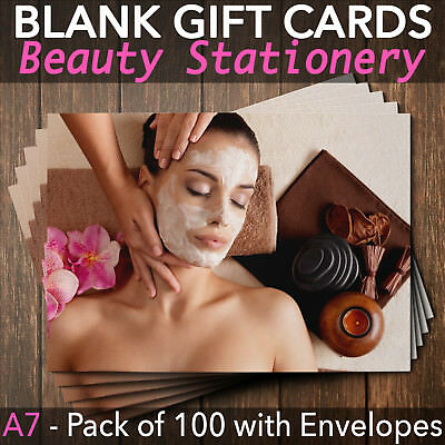 Beauty Salon Gift Voucher Facial Blank Nail Massage Spa Pack of 100 + Envelopes