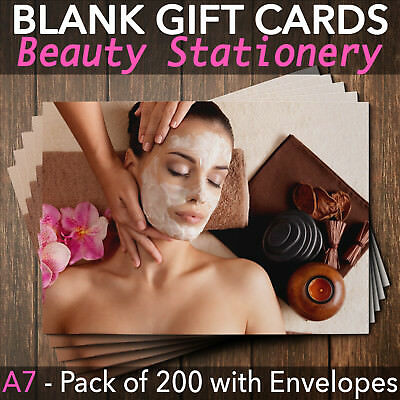 Beauty Salon Gift Voucher Facial Blank Nail Massage Spa Pack of 200 + Envelopes