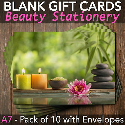 Beauty Salon Gift Voucher Blank Nail Massage Spa Hairdresser Pack of 10 + Env.