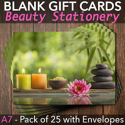 Beauty Salon Gift Voucher Blank Nail Massage Spa Hairdresser Pack of 25 + Env.