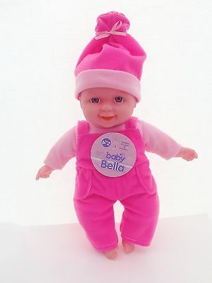 """Baby Bella 12"""" Soft Bodied New Born Baby Doll with Roper Suit Laughing Face"""