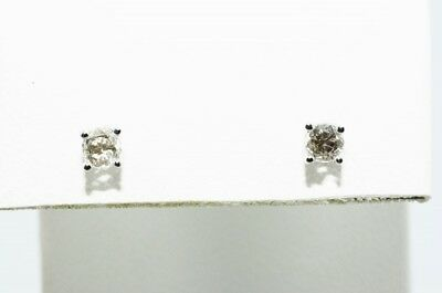 .10Ct Natural Round Rose Cut White Diamond Stud Earrings 14K White Gold