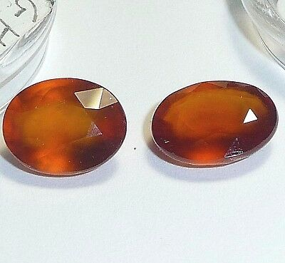 Hessonite-Garnet oval  loose (2pc)10x8mm,6.83ct tw,GH-A03-A04, natural