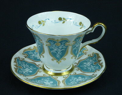 Tuscan Footed Cup and Saucer England Gold Scrolls Flowers Trim Green Panels