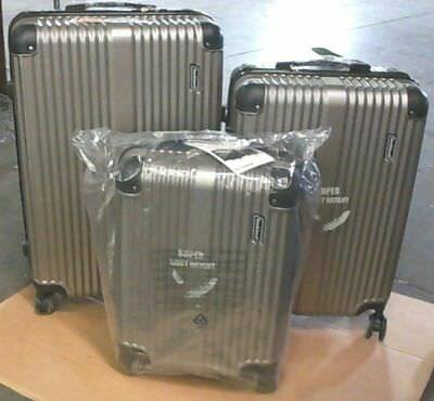 NEW OPEN BOX Rockland F236 3pc Hardside Spinner Luggage Set, Silver $150 -READ