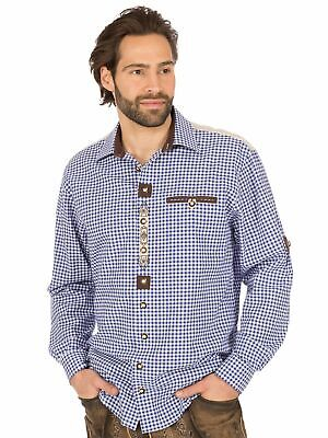 Os-Trachten Traditional Shirt Roll-Up Sleeves Checked 320021-0793 White Blue